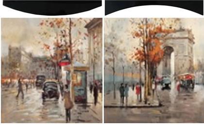 Модульная картина Top Art Studio Осень в Париже 58x58см, пара, дерево, лак WDP0265-TA