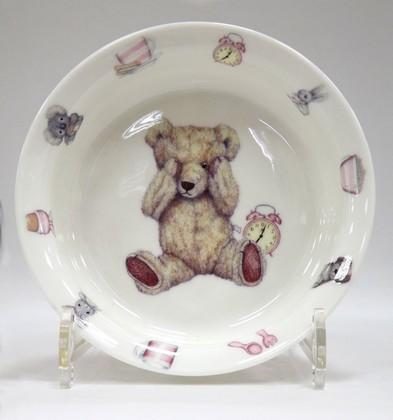 Глубокая тарелка для девочки Время с Тедди, 16см Roy Kirkham XTEDPIN1391