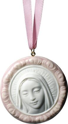 Медальон розовый Дева Мария (Protective Mary) 5x5см NAO 02001758