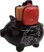 Копилка для денег Pomme-Pidou Свинья путешественник, чёрный 17x12.2x15.5см 1025-00001/B