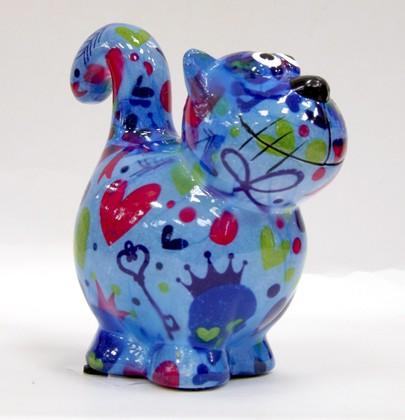 Копилка Pomme-Pidou Кошка, мини, голубой 11.5x6.8x11.7см 148-00248/A