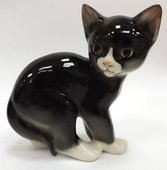Статуэтка Кошка чёрная, 13.5см, фарфор ИФЗ 82.51744.00.1