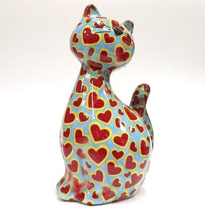 Копилка Кошка CARAMEL голубая с сердечками Pomme-Pidou 148-00029/3