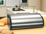 Хлебница из полированной стали, боковины чёрные Brabantia 132841