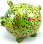 Копилка Свинья BIG PEGGY XL зелёная с божьими коровками Pomme-Pidou 148-00026/C