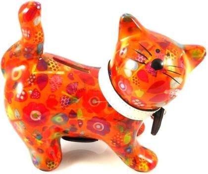Копилка Pomme-Pidou Кошка Kitty оранжевая с цветочками 148-00021/6