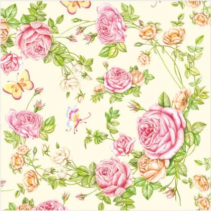 Салфетки для декупажа Садовые Розы, 33x33см, 3 слоя, 20шт Paw SDL340000