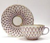 Чашка с блюдцем Сетка-блюз, ф. Тюльпан ИФЗ 81.16354.00.1