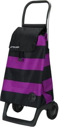 Сумка-тележка хозяйственная компактная фиолетово-чёрная Rolser JOY-1800 BABY BAB003lila/negro