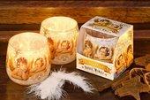 Свеча Рождественские Ангелы, стакан 8x7.5см Bartek Candles 5907602697421