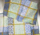 Скатерть Белорусский лён Изразцы 150x250см, 6 салфеток 48x48см зелёно-голубой 16c412/150x250/48/5