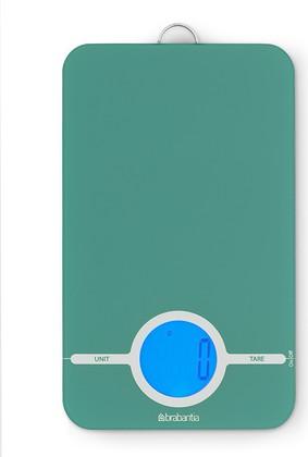 Цифровые кухонные весы 5кг/1г стеклянные цвета мяты с петлёй для подвешивания Brabantia 480720