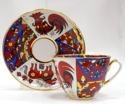 Чашка с блюдцем Народные узоры, ф. Весенняя ИФЗ 81.18073.00.1