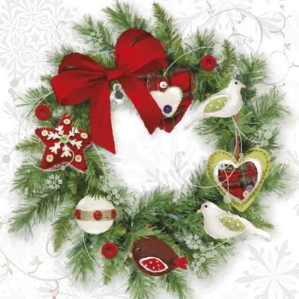 Салфетки коктейль Рождественский венок 25x25см, 3 слоя, 20шт Paw SDC081800