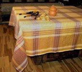 Скатерть Белорусский лён Клюква 160x200см, 6 салфеток 50x50см коричневая 12c503/160x200/796/8