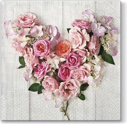 Салфетки для декупажа Розовое сердце, 33x33, 20шт Paw SDL091100
