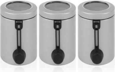Набор из 3 контейнеров с прозрачной крышкой и мерной ложкой 1.4л серый металлик Brabantia 423703