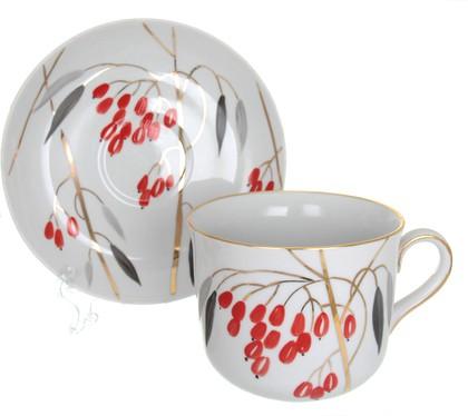 Чашка с блюдцем Дулёвский фарфор Ностальгия, Кизил, 450мл ДС3329