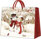 Пакет подарочный бумажный Paw Снежная семья 33.5x26.5x13см AGB018406