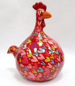 Копилка Курица BIG MARIE красная с сердечками Pomme-Pidou 148-00125/2