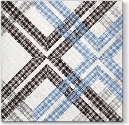 Салфетки ланч 3-х слойные Стильная проверка, синий, 33x33, 20шт Paw SDL092705