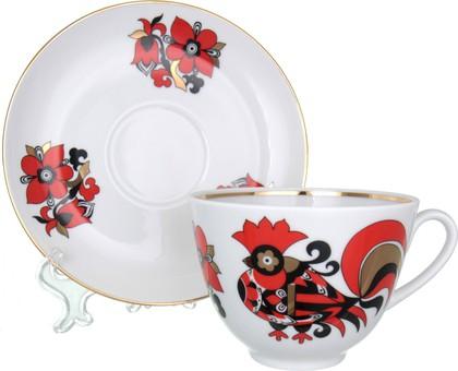 Чашка с блюдцем ИФЗ Весенняя, Красные петушки 81.15902.00.1