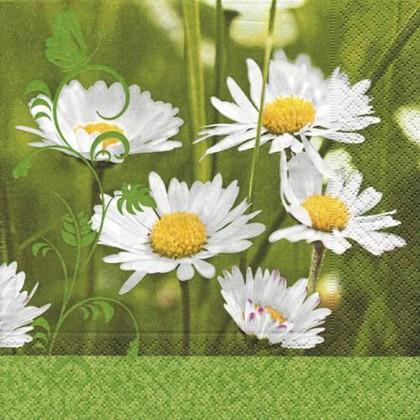 Салфетки для декупажа Ромашки на поляне, 33x33см, 3 слоя, 20шт Paper+Design 21477