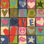 Салфетки для декупажа Love, 33x33см, 3 слоя, 20шт Paper+Design 21862