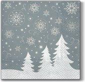 Салфетки В сказочном лесу, серебро 33x33, 3-сл, 20шт Paw SDL058708