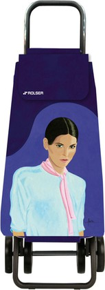 Сумка-тележка хозяйственная фиолетовая с рисунком Rolser DOS+2 MOU137more/carla