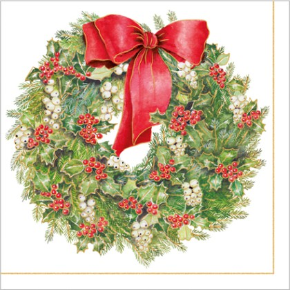 Салфетки 3 слоя Рождественский венок 33x33см, 20шт Paw SDL110000