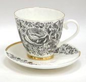 Чашка с блюдцем чайная Лето Чёрное, ф. Гвоздика ИФЗ 81.20072.00.1