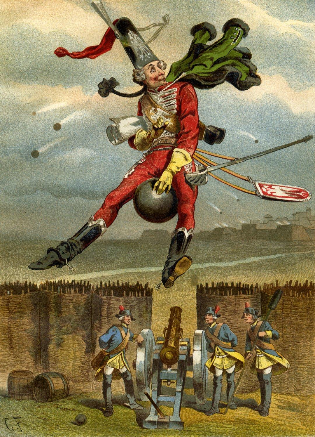 Иллюстрация с Мюнхгаузеном на ядре к книге Рудольфа Эриха Распе, созданная Готфридом Францем