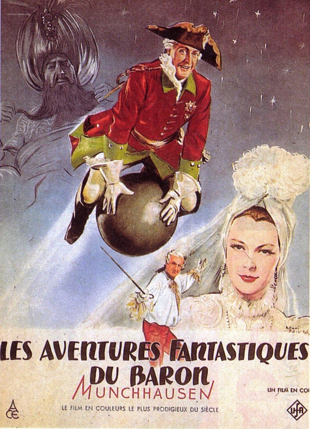 Иллюстрация с Мюнхгаузеном на ядре к кинофильму о бароне, созданном в 1943 году специалистами студии Universum Film (UFA) в Германии