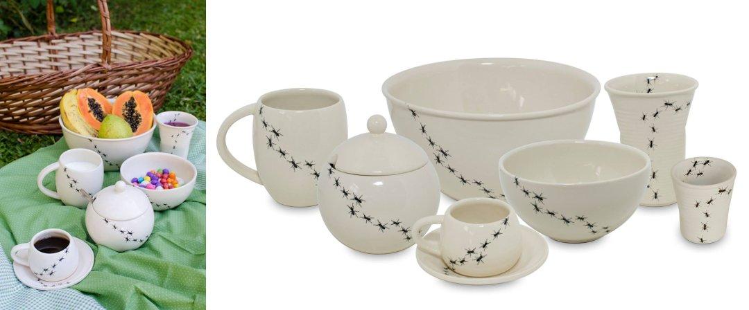 Чайный набор керамической посуды, представленный в серии FORMIGAS от Ceraflame 2016