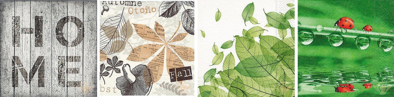Бумажные салфетки от Paper+Design с изображениями древесных и растительных текстур