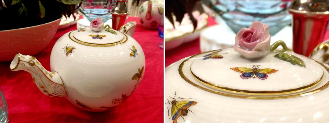 Заварочный чайник с розочкой вместо ручки для крышки