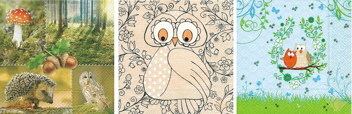 Бумажные салфетки от Paper+Design с рисунками и фотоизображениями сов