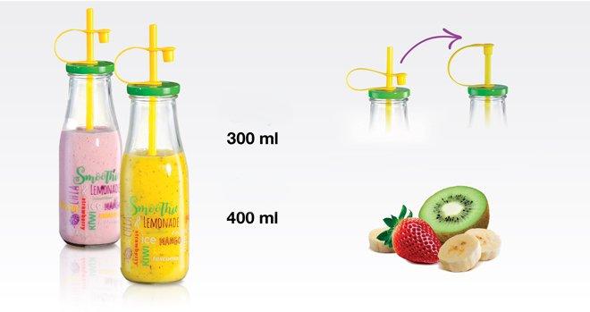 Стеклянные бутылки myDRINK с соломинками для смузи, представленные специалистами Tescoma в июне 2017 года