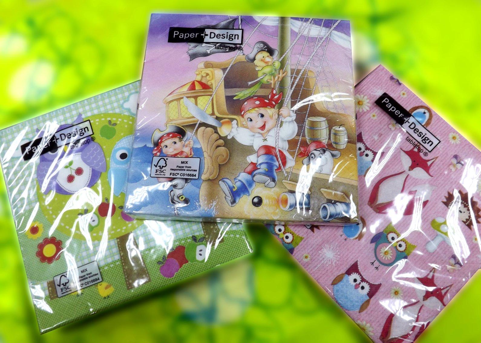 Бумажные салфетки от Paper+Design в прозрачных упаковках с рисунками для детей и их родителей