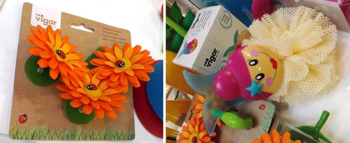Клипсы, украшенные цветками и держатель для мочалки с кукольным лицом среди новинок бренда Vigar во время выставки HouseHoldExpo 2015