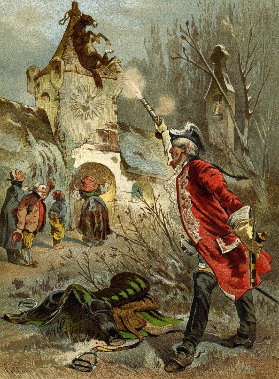 Иллюстрация с Мюнхгаузеном и конём, к книге Рудольфа Эриха Распе, созданная Готфридом Францем