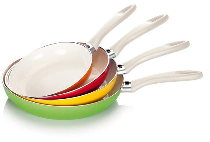 Сковороды Tescoma ecoPRESTO четырёх цветов с температурной индикацией