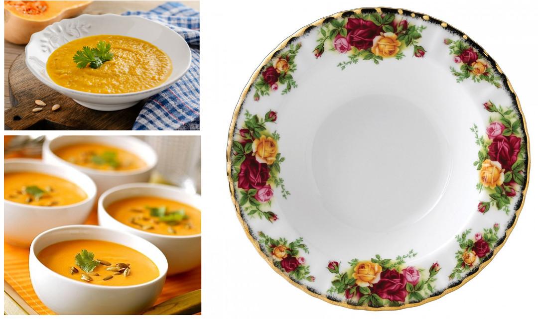 Версии тыквенного супа и тарелка от Royal Albert