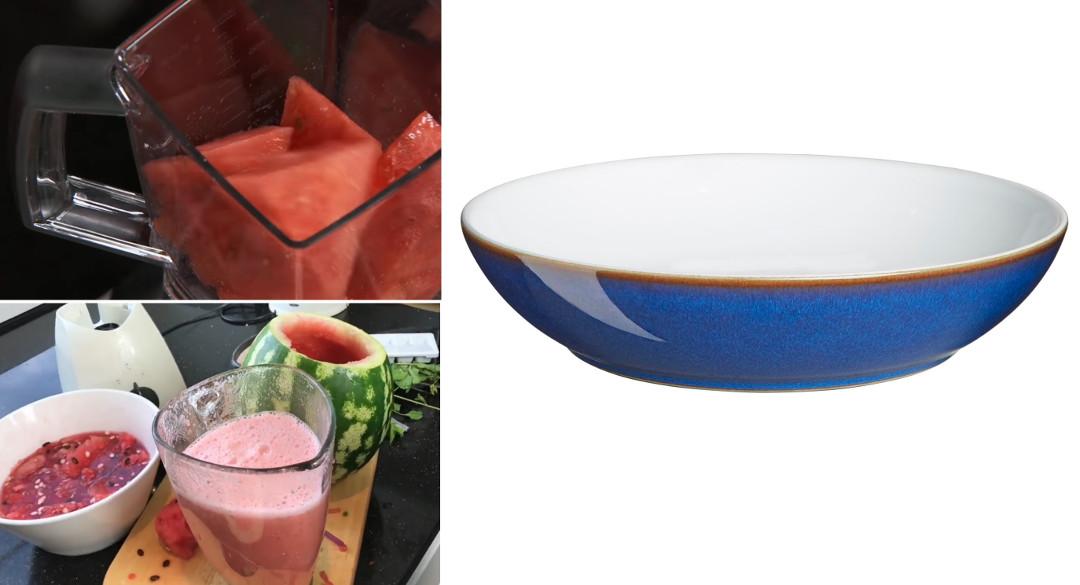 Приготовление арбузного супа, тарелка от Denby