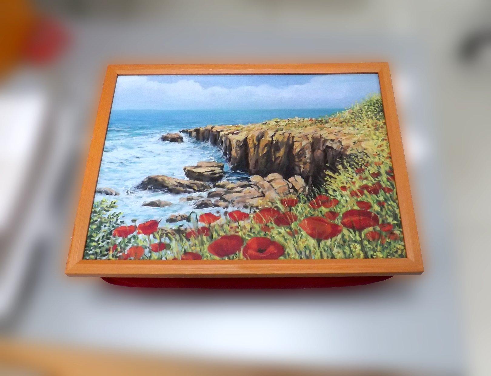 Поднос на подушке с изображением побережья Нормандии от Top Art Studio
