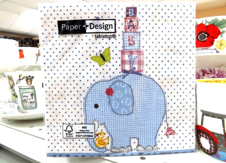 Бумажные декупажные салфетки со стилизованным изображением голубого слона от Paper+Design