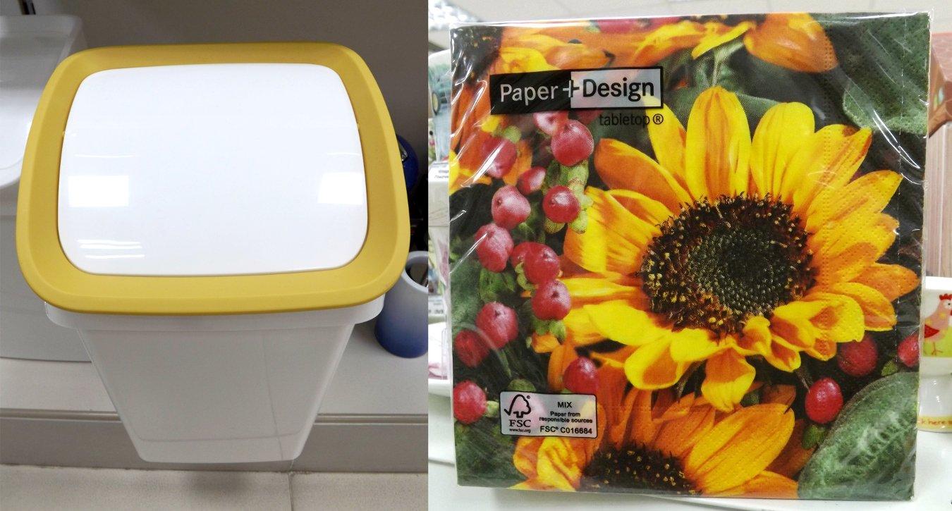Ведро для мусора Tescoma CLEAN KIT и часть бумажной салфетки - Осеннее поздравление - от Paper+Design по отдельности