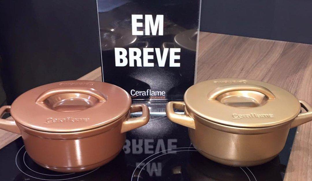 Керамические кастрюли с покрытием под медь и под золото, представленные керамистами Ceraflame в 2016 на выставке в Сан-Паулу