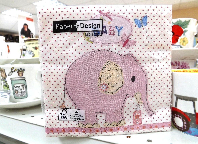 Бумажные декупажные салфетки со стилизованным изображением розового слона от Paper+Design